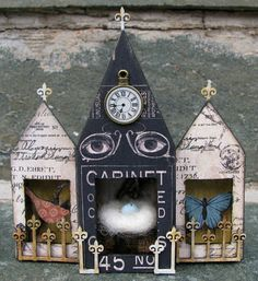 GREAT EYES ON FRONT AND FENCES....................................CackleAndHoot: Matchbox Triptych House