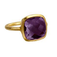 Brushed Gold Cocktail Ring - Violet Purple