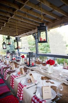 Country Rehearsal Dinner. Love the caramel apples! @Marlys Adamson - I like the red! The ranch has lanterns too!