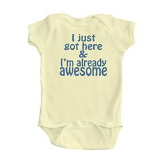 Adorable Baby I'm Already Awesome One Piece Bodysuit by apericots, $11.99