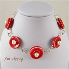 Vintage Red Button Bracelet with White Glass by BurntSkyDesigns, $25.00