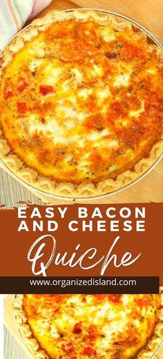 Easy Bacon Cheese Quiche Recipe - Organized Island