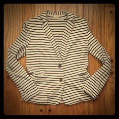 J.Crew Striped Blazer navy & cream SM Like new J.Crew Factory women's cream unstructured blazer with navy stripes.  Princess seams for feminine fit.  100% cotton so machine washable.  Worn once in Paris & in excellent condition.  Well made- would think it was full line j.crew store material & construction.  Size small.  Looks nice with sleeves rolled up as well.  Excellent condition with no issues. J. Crew Jackets & Coats Blazers