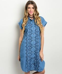 Elegant embroidery embellishes this casual denim shirt dress offering day-long comfort and charming style. Wholesale Fashion, Wholesale Clothing, Denim Shirt Dress, Denim Tunic, Knee Length Shorts, Fast Fashion, Denim Button Up, Short Sleeve Dresses, Casual