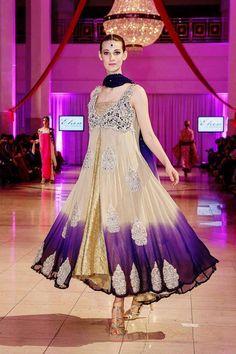 Stunning cream purple anarkali churidar