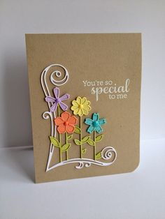 I'm in Haven: Garden Bouquet. This card uses the total die.  I colored the stems/leaves AND the flowers with markers, a couple times...Then I took all the pieces out of one of the die cuts, leaving the flowers' petals in the one that will be on the bottom(making it a base), then adhered them together...I then die cut separate flower pieces with the dies from the set and covered the flower tops with the cardstock die cut  flowers.