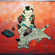 "Andreea Opris on Instagram: ""#monmoncats inspired #kazuakihoritomo inspired #windowpainting #windowcolors #stainedglass #stainedglasswindow #stainedglasswindows"" Stained Glass Windows, Disney Characters, Fictional Characters, Inspired, Disney Princess, Painting, Color, Instagram, Art"