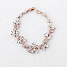 Bridal Bracelet of CZ Teardrop Round Marquise Jewels