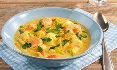 Safran-Fischsuppe mit Gemüse-Mix