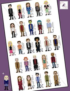 Buffy and Angel Universe inspired Character Alphabet Cross Stitch pattern - PDF Pattern - INSTANT DOWNLOAD by FangirlStitches on Etsy