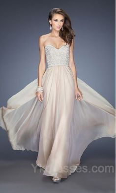 La Femme 20211 Nude Fitted Top Sweetheart Prom Dress with Pearls c5f74845d