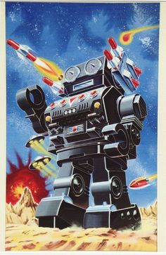 Global Gallery 'Missile Robot' by Retrobot Vintage Advertisement on Wrapped Canvas Robots Vintage, Retro Robot, Retro Toys, Vintage Toys, Vintage Labels, Robot Tattoo, Arte Robot, Tin Toys, Cultura Pop