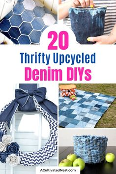 20 Thrifty Upcycled Denim Projects- If you have old jeans or torn denim clothes, don't throw them out! Instead, give them new uses with these thrifty upcycled denim projects! Many of these denim repurposing DIYs would make great homemade gifts! | ways to use old jeans, how to use up old jeans, handmade gift, easy sewing, beginner sewing, repurpose, recycle, #upcycling #handmadeGift #sewing #craft #ACultivatedNest