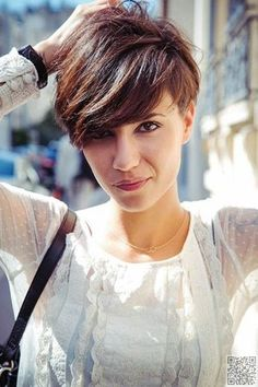 25. Pixie Cut with Long #Bangs and Volume at the #Crown - The Long and Short of It - Pixie Cuts ... → Hair #Pixie