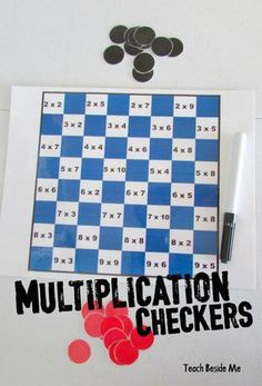 Make practicing multiplication facts FUN with this free printable multiplication checkers math game for grade, grade, and grade students. Multiplication Checkers Math Game This is so cool! We are always on the look out for fun ways for kids to Math Board Games, Math Boards, Fun Math Games, Mental Maths Games, Classroom Games, Math Night, Fourth Grade Math, 4th Grade Math Games, 4th Grade Activities