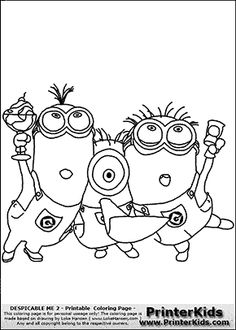 Despicable Me 2 - Minion #13 Minions Partying - Coloring Page