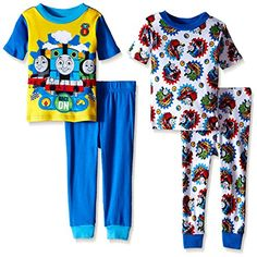 Thomas the Train Boys Racing On with Friends 4-Piece Pajama Set ** Check this awesome product by going to the link at the image.(It is Amazon affiliate link) #likemeback
