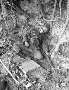 Corpse of German soldier in ditch alongside road to town of St. Mere-Eglise, he was killed during day of the allied invasion of Normandy.