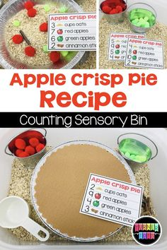 Toddlers can pretend to be a baker and follow the directions on these cards to make apple crisp pie! Count the ingredients in the sensory bin and bake a delicious pie with this apple activity for preschool! #preschool #preschoolactivities #toddleractivities #preschoollearningactivities # appleactivitiespreschool