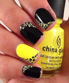 Yellow and black leopard nail art design. Nail Design, Nail Art, Nail Salon, Irvine, Newport Beach