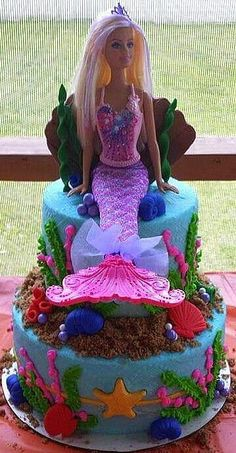 Barbie Mermaid Cake | Cakes by Carrie | Barbie Cake Ideas | Barbie Cake Designs | Barbie Cake | Barbie Gown Cake | Ken | Birthday Party | Birthday Cake for Girls | Barbie Princess Cake | Barbie Doll Cake | Barbie Doll Theme Cake | Repinned by @purplevelvetpro | www.purplevelvetproject.com