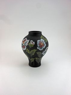 7a8b53e9fc9b Vase, Black Amethyst Glass, Satin Finish, Hand Painted with Flowers, Leaves  and Stems, Signed by Artist, Tanya Kelley, Fenton Maker's Mark