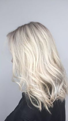Ice Blonde Hair. Platinum Blonde. Cool blonde. Ash blonde. Balayage. Highlights. Color by Laura Gibson