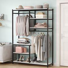 "Latitude Run® Anaejah 47.24"" W Free-Standing Closet Organizer | Wayfair Closet Rod, Wardrobe Closet, Closet Storage, Storage Rack, Closet Organization, Storage Shelves, Storage Spaces, Clothes Storage Without A Closet, Closet Shelving"