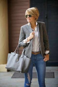 s e e r s u c k e r + s a d d l e s - blazer (Zara), jeans (DL1961 on Crazy Sale!), blouse (J.Crew), belt (C. Wonder), bag (Michael Kors), shades (Ray Ban), rings (David Yurman, Anna Beck)