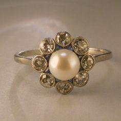 Edwardian pearl diamond sapphire platinum ring