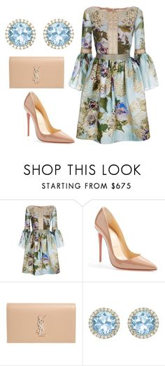 """Untitled #1966"" by styledbytjohnson ❤ liked on Polyvore featuring Marchesa, Christian Louboutin, Yves Saint Laurent and Kiki mcdonough"