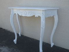 Bali Furniture French Provincial Display Hall Table Sideboard Antique White Wash
