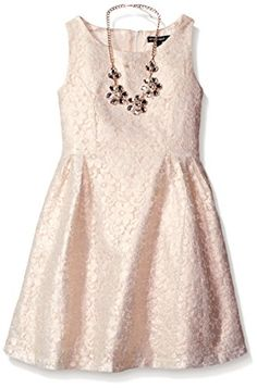 My Michelle Girls' Foil Lace Dress with Necklace and Princess Panels
