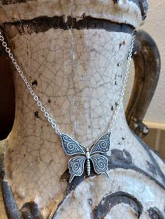 Sterling silver Butterfly pendant Necklace. Nature, Simple, everyday necklace. McKee Jewelry Designs.  Victorian, nature lover, woodland, gift, Spring, Summer.