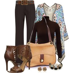 Office outfit: Brown - Floral by downtownblues on Polyvore featuring Bed|Stu, Dolce Vita and Nine West