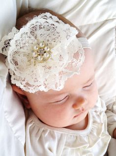 Vintage lace Ivory flower headband with pearl rhinestone center (Newborn Headbands, Baby Headbands, Infant Headbands, Toddler,Girls)