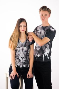 """The king of the jungle never loses sleep over the opinions of others"". Printed on a 100% POLYESTER WHITE T-Shirt. (Printed in the USA using a Dye Sublimation Process that creates slight imperfections over seams and folds). Female Model is wearing a Girls Small"
