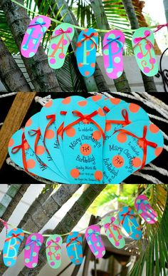 Items similar to 10 Graduation Invitations or Pool Party Luau Flip Flop birthday by Palm Beach Polkadots on Etsy Party Fiesta, Festa Party, Luau Birthday, Birthday Parties, Birthday Ideas, Birthday Garland, Hawaiian Birthday, Happy Birthday, Birthday Banners