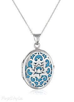 Italian Sterling Silver Lotus Flower Locket Necklace