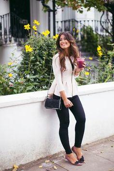 Pretty peplum — mimi ikonn looks femininos, guarda roupa, roupas femininas, inverno, Classy Outfits, Fall Outfits, Casual Outfits, Cute Outfits, Work Outfits, Peplum Top Outfits, Peplum Jacket, Estilo Fashion, Look Fashion