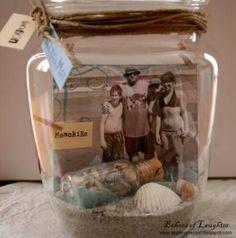 Recuerdo foto en un tarro de cristal