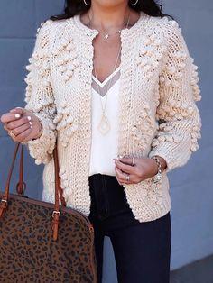 Vska Mens Knitting Open Front Business Leisure Sweater Cardigan
