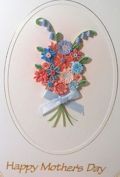 Paper quilling bouquet Mothers day card with quilled flowers. £6.00, via Etsy.