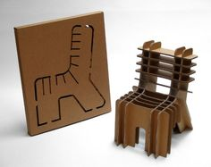 packaging-design-sustainable-david-graas-finish-yourself-stool-photo.jpg - Dutch designer David Graas dreamed up a line of furniture made from cardboard that transforms from flat packaging to three-dimensional furniture that makes very judicious use of the cardboard -- the end product is virtually zero-waste. There's a stool that goes with the chair pictured here.