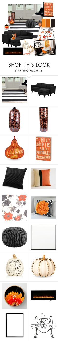 """""""Happy holidays!"""" by total-nicole ❤ liked on Polyvore featuring Sagebrook Home, Improvements, Primitives By Kathy, Graham & Brown, CB2, By Lassen, Bomedo, Tag, orangeandblack and colorchallenge"""