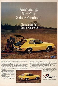 1971 Ford Pinto - Announcing: New Pinto Runabout - Original Ad Ford Pinto, Ford Motor Company, Vintage Advertisements, Vintage Ads, How To Save Gas, Michigan, Ford Classic Cars, Car Advertising, Us Cars