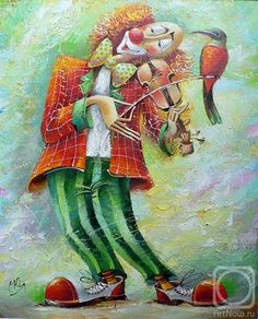 Hand-painted Original Oil painting art abstract clown Play On Canvas Es Der Clown, Le Clown, Clown Faces, Circus Clown, Russian Painting, Russian Art, Russian Online, Pierrot Clown, Yuri