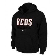 Wholesale Men Fashion Winter Cincinnati Reds Black Baseball Pullover Hoodie_Cincinnati Reds Pullover Hoodie