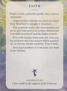 'Faith' - Angel Card – Diana Cooper