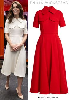 Emilia Wickstead 'Alice' dress aso Kate Middleton now available in red. Click to SHOP